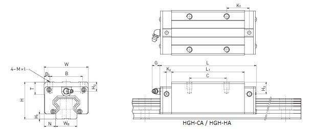 Wózek liniowy Hiwin HGH30HA
